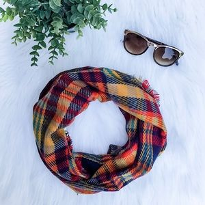Red & Mustard Plaid Infinity Scarf